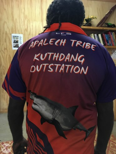 In Aurukun most people wear a shirt from their own clan group